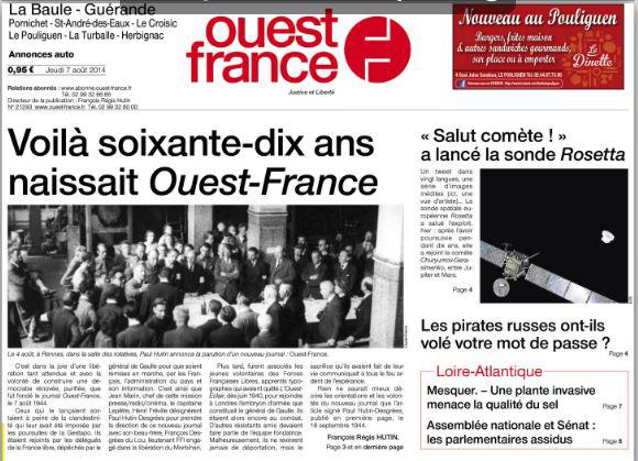 Notre action Baccharis du 6 août à la Une de Ouest France (Loire-Atlantique)
